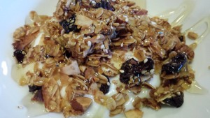Homemade Granola over Yogurt with a Drizzle of Honey is a healthy breakfast! (Photo Credit: Adroit Ideals)