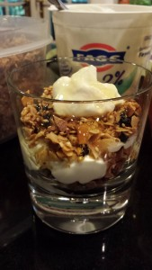 A tasty parfait of homemade granola layered with Greek yogurt and honey (Photo Credit: Adroit Ideals)