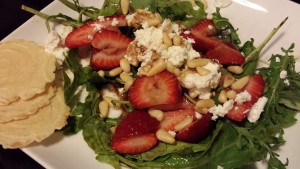 Strawberry, Goat Cheese, and Toasted Pine Nuts with Spinach and Arugula (Photo Credit: Adroit Ideals)