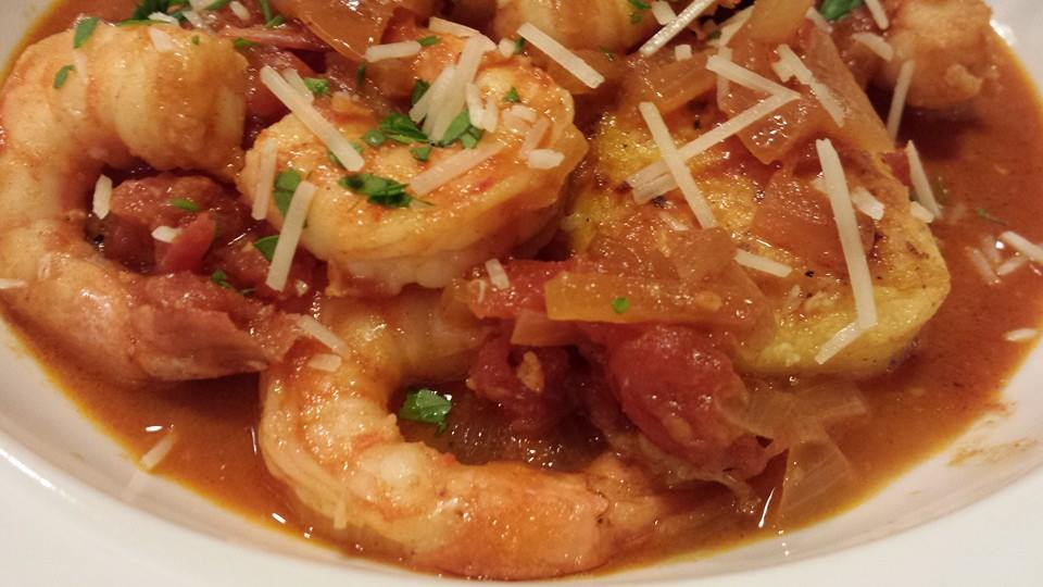 Smoky Shrimp in Spicy Tomato Sauce over Polenta (Photo Credit: Adroit Ideals)