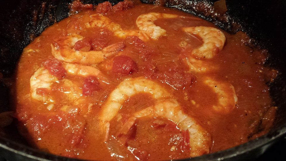Smoky Shrimp warming in Spicy Smoky Tomato Sauce (Photo Credit: Adroit Ideals)