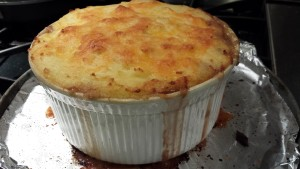 Beefy Shepherd's Pie is ready to cool  (Photo Credit: Adroit Ideals)