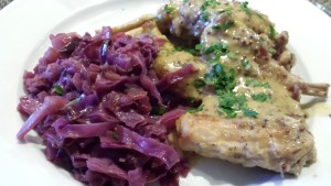 Rabbit in Mustard Sauce served with Braised Red Cabbage (Photo Credit: Adroit Ideals)