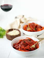 Pasta Arrabiata with Carrot Noodles (Photo Credit: Tuttorossotomatoes.com)