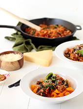 Tuscan Sausage and Kale Ragu with Butternut Squash Fettuccine (Photo Credit: Tuttorossotomatoes.com)