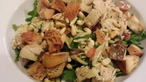 Marinated Chicken Tomato Orzo Salad Topped with Toasted Pine Nuts and Croutons (Photo Credit: Adroit Ideals)