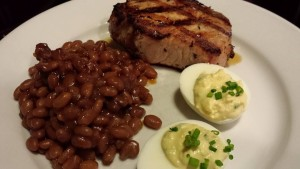 Chive Deviled Eggs served with Grilled Pork Chop and my Honey Mustard Baked Beans (Photo Credit: Adroit Ideals)