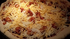 BBQ Chicken Pizza ready for the oven (Photo Credit: Adroit Ideals)