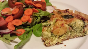 Serve my Broccoli, Ham and Smoked Gouda Quiche with a side salad (Photo Credit: Adroit Ideals)