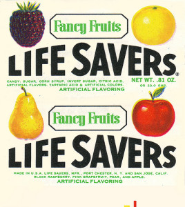 Lifesaver wrapper from the Fancy Fruits flavors (Photo Credit: Jason Liebig)