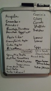 Keep a white board with a list of fresh/frozen ingredients on your fridge for meal planning purposes (Photo Credit: Adroit ideals)