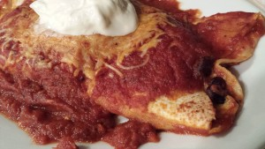 Savory Smoked Pork Enchilada with Homemade Red Enchilada Sauce topped with Sour Cream (Photo Credit: Adroit Ideals)