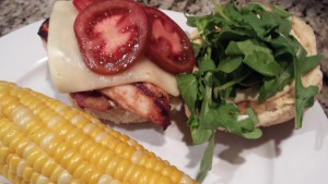 Chicken Havarti Sandwich with Bacon, Mustard Mayo, Tomato and Arugula, served with Corn on the Cob (Photo Credit: Adroit Ideals)