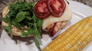 Chicken Havarti Sandwich served with an Ear of Corn (Photo Credit: Adroit Ideals)