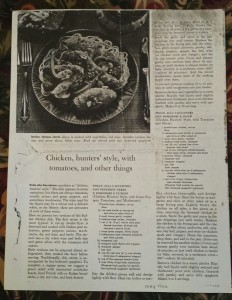 Chicken, hunters' style, with tomatoes, and other things - Article from Sunset Magazine May 1966 (Photo Credit: Adroit Ideals)
