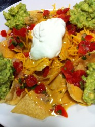 Nachos with chile con queso and guacamole