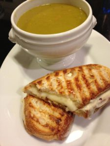 Hubby's Split Pea Soup accompanies a Shiitake Mushroom Havarti Cheese Panini (Photo Credit: Adroit Ideals)