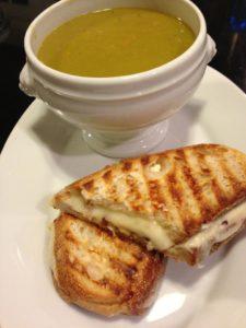 Hubby's Split Pea Soup accompanies a Shiitake Mushroom Havarti Cheese Panini (Photo Credit: Adroit Ideals)