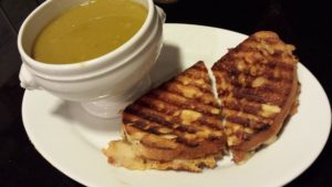 Swiss Cheese and Maple Ham Panini served with a bowl of Hubby's Split Pea Soup (Photo Credit: Adroit Ideals)