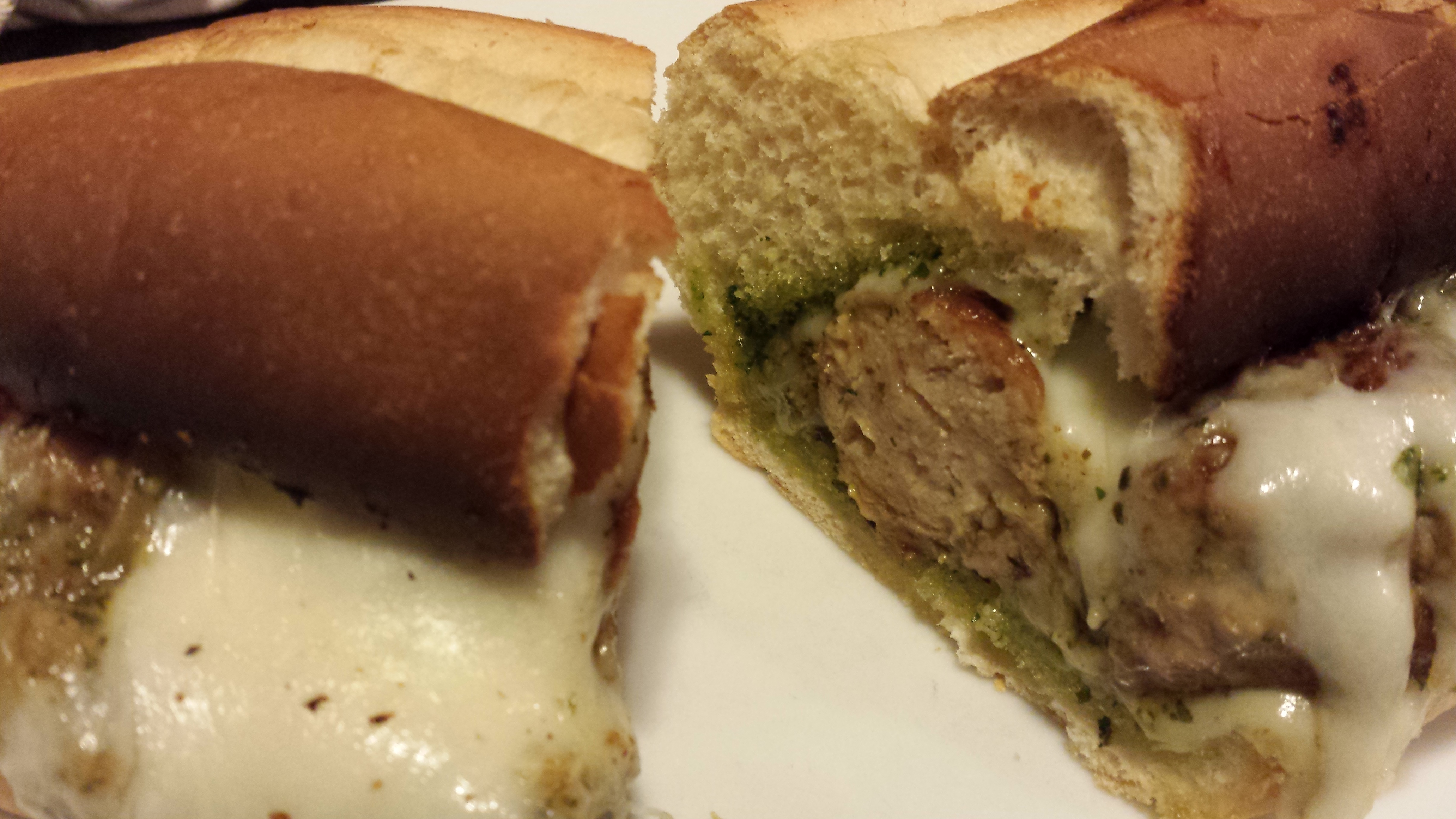 Ooey Gooey Pesto Turkey Meatball Sandwich (Photo Credit: Adroit Ideals)