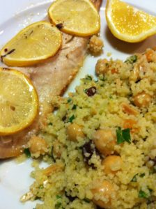 Maryland Rockfish served with savory Apricot Almond Couscous Salad (Photo Credit: Adroit Ideals)