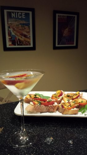 Peach Pistachio Ricotta Toasts along with a White Cosmo Peach Martini (Photo Credit: Adroit Ideals)
