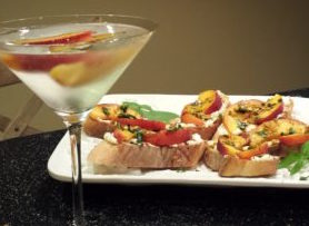 White Peach Cosmopolitan Martini accompanies Peach Pistachio Ricotta Toasts (Photo Credit: Adroit Ideals)