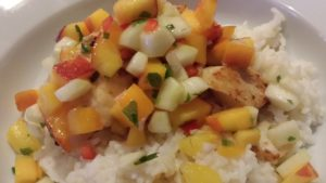 Colorful Zesty Cucumber Pineapple Peach Salsa goes great with fish or chicken (Photo Credit: Adroit Ideals)