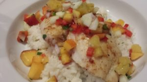 Grilled Halibut with Zesty Cucumber Pineapple Peach Salsa (Photo Credit: Adroit Ideals)