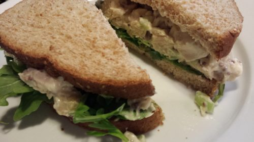Honey Mustard Chicken Salad Sandwich on Whole Grain Bread with Arugula (Photo Credit: Adroit Ideals)