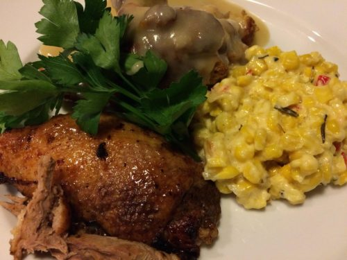 Rosemary Creamed Corn with Roasted Duck