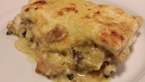 White Rabbit Lasagna with chunks of rabbit and a camembert Bechamel sauce (Photo Credit: Adroit Ideals)