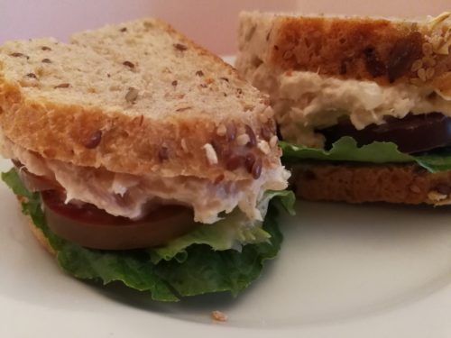 Lettuce and Tomato on Tunafish Salad makes a great sandwich