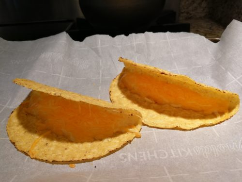 Cheese keeps taco shells open