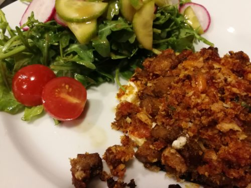 Baked stuffed mushroom with salad