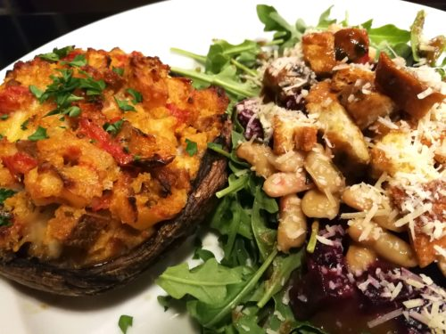 Roasted Mushroom Cap with side salad of beets and white beans