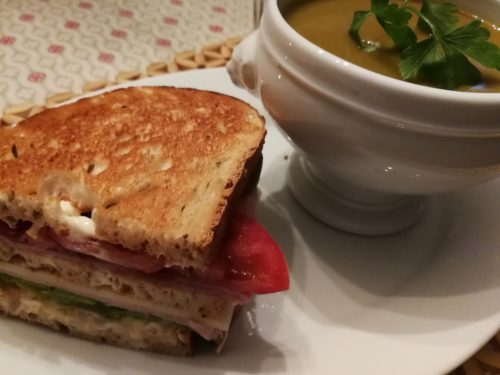 Club Sandwich with Roasted Vegetable Soup