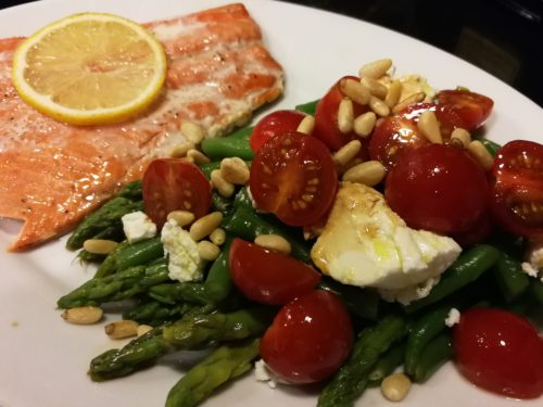 Baked Wild Salmon and Herbed Asparagus Green Bean Tomato Salad