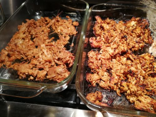 Jackfruit carnitas on right, pork carnitas on left