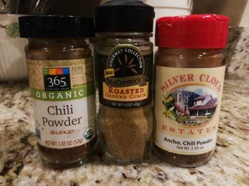 chili powder, cumin powder, Ancho chile powder
