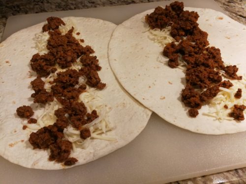 add spicy ground beef taco meat