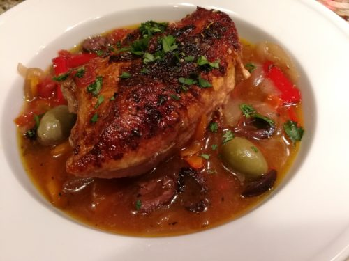 garlic stuffed olives and slow braised chicken provencal