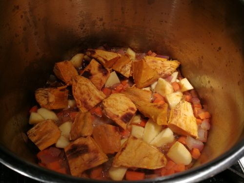 Add sweet potato and apple