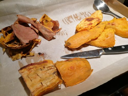 peel roasted sweet potatoes