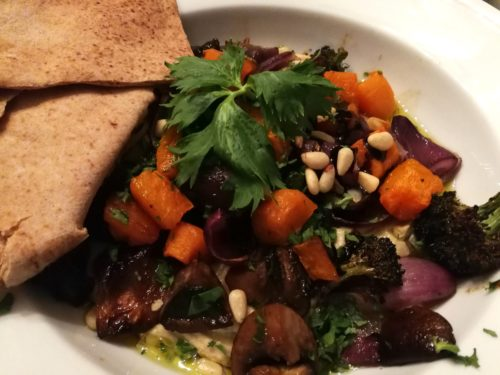 roasted vegetable hummus bowl