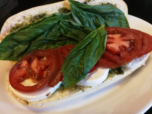 Caprese Sandwich ready for balsamic syrup