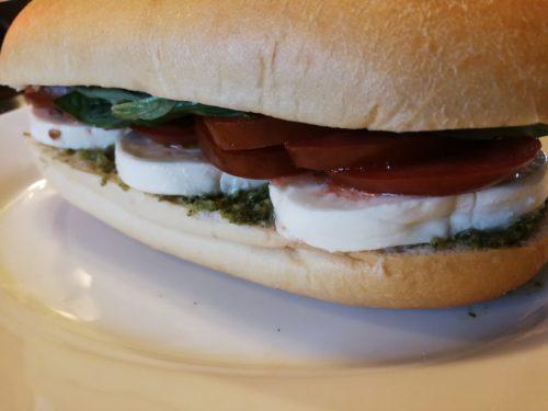 Caprese Tomato Mozzarella Basil Pesto Sandwich