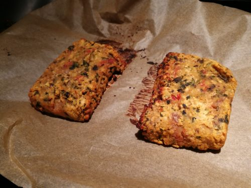 Broiled slices of lentil loaf