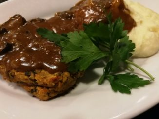 Serve lentil loaf with mashed potatoes and gravy