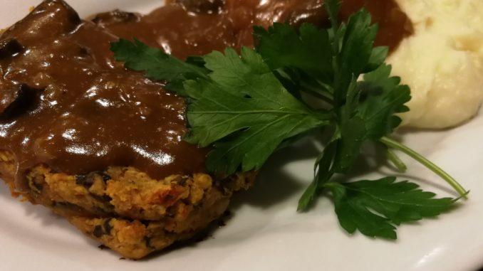 Serve lentil loaf with mashed potatoes and gravy